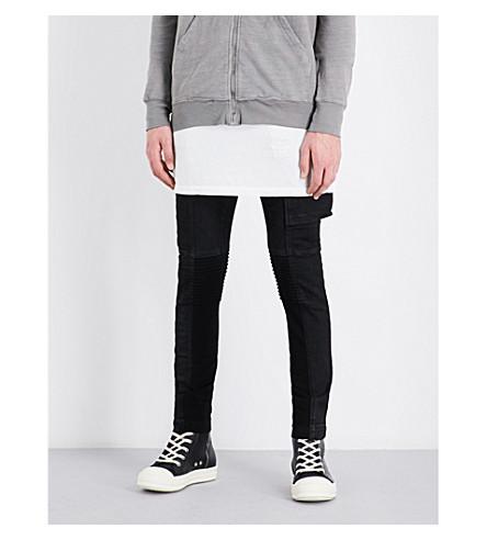 RICK OWENS DRKSHDW Biker-flap skinny stretch-denim jeans (Black+matte