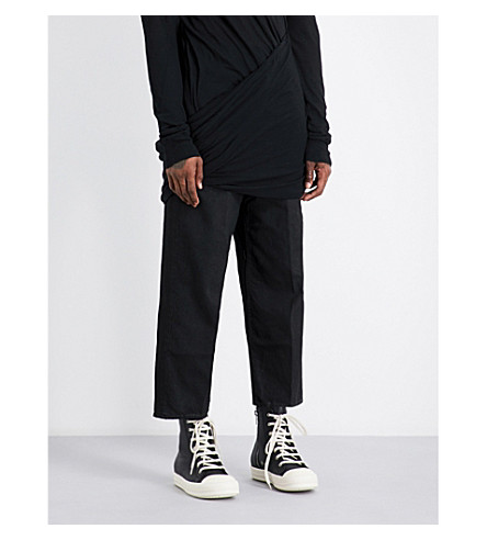 RICK OWENS Drkshdw regular-fit wide jeans (Black+matte