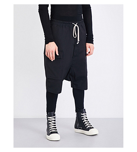 RICK OWENS Drkshdw Cargo relaxed-fit stretch-cotton shorts (Black