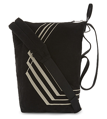 RICK OWENS DRKSHDW Embroidered cotton shoulder bag (Black+pearl