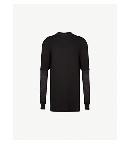 RICK OWENS DRKSHDW Layered cotton-jersey T-shirt (Black