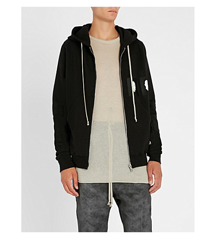 RICK OWENS DRKSHDW Embroidered cotton-jersey hoody (Black