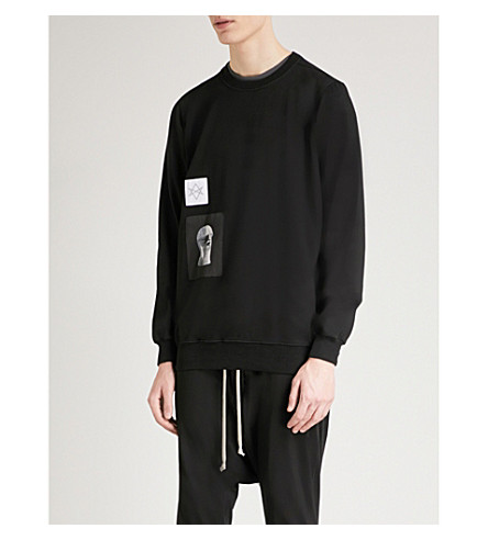 RICK OWENS DRKSHDW Appliquéd cotton-jersey sweatshirt (Black