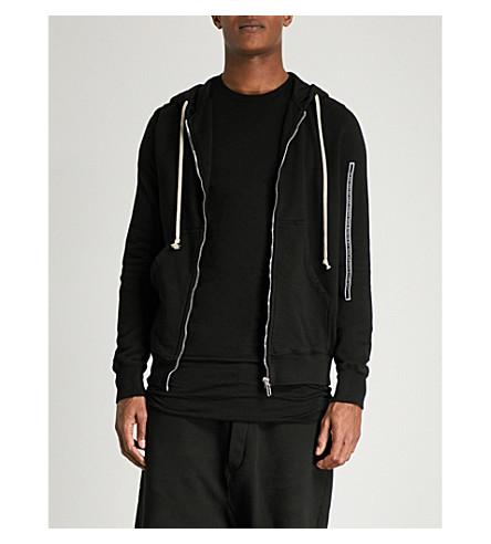 RICK OWENS DRKSHDW Jason's slogan-trim cotton-jersey hoody (Black