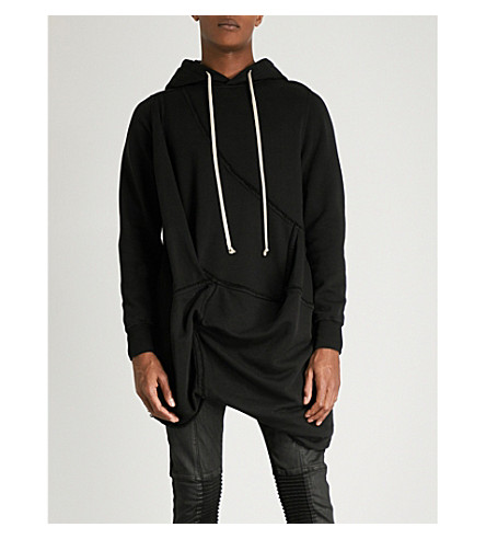 RICK OWENS DRKSHDW Draped cotton-jersey hoody (Black