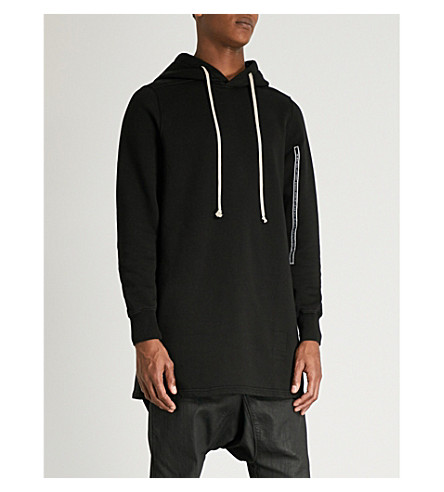 RICK OWENS DRKSHDW Slogan-trim cotton-jersey hoody (Black