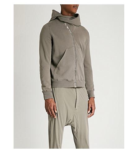 RICK OWENS DRKSHDW Diagonal-zip cotton-jersey hoody (Dna