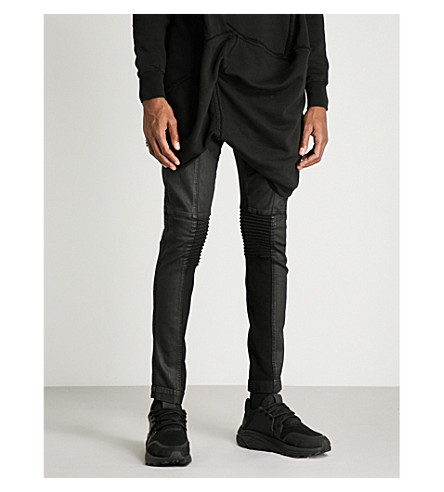 RICK OWENS DRKSHDW Memphis coated regular-fit skinny jeans (Black