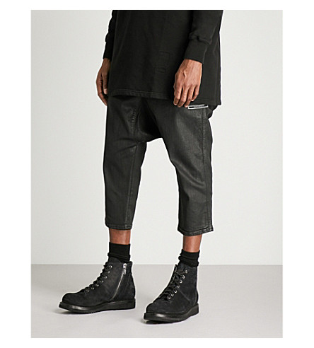RICK OWENS DRKSHDW Drawstring-waist regular-fit straight jeans (Black