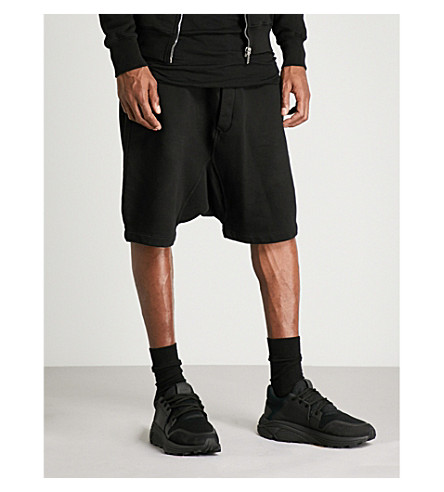 RICK OWENS DRKSHDW Dirt Pods dropped-crotch cotton-jersey shorts (Black