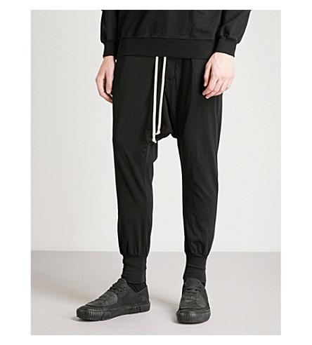 RICK OWENS DRKSHDW Prisonner dropped-crotch skinny cotton-jersey jogging bottoms (Black
