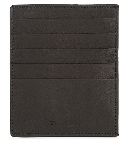 RICK OWENS Glitter leather card holder (Black