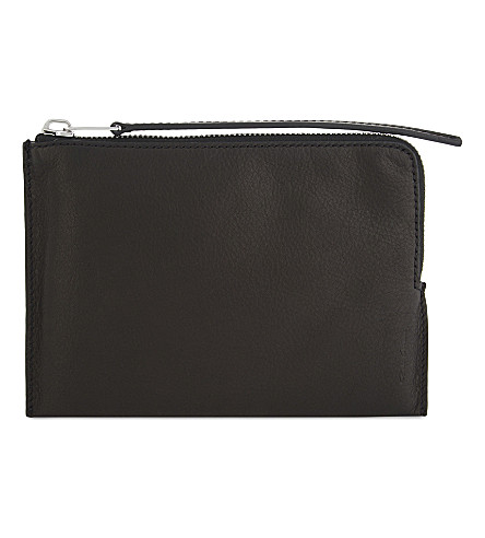 RICK OWENS Glitter medium grained leather pouch (Black