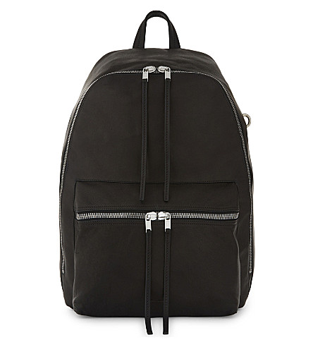 RICK OWENS Leather backpack (Black