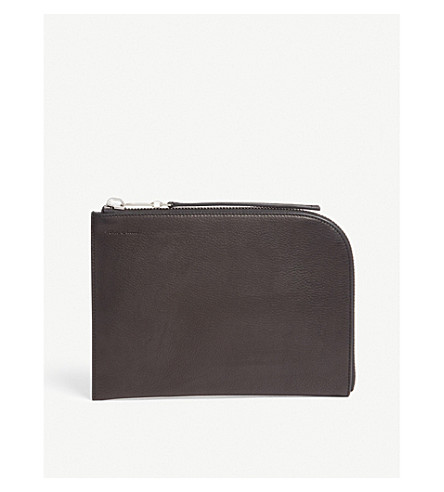 RICK OWENS Zipped leather pouch (Black