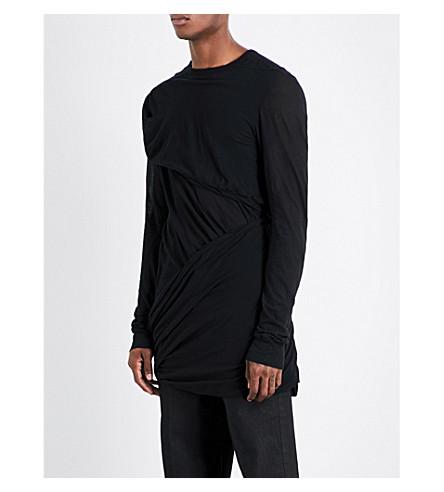 RICK OWENS Crossbody cotton-jersey top (Black