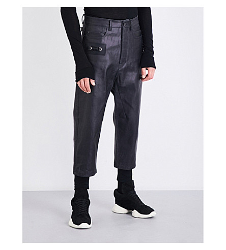 RICK OWENS Painted-effect slim-fit tapered jeans (Black+matte