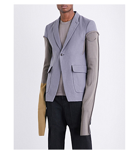 RICK OWENS Single-breasted ramie jacket (Grey