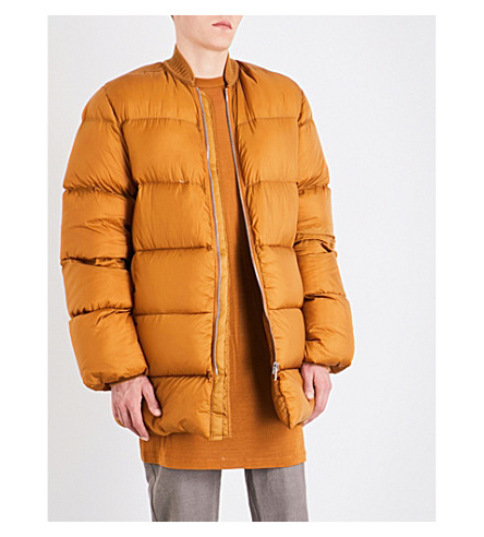 RICK OWENS Quilted down and feather-blend bomber jacket (Topaz