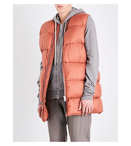RICK OWENS Oversized quilted down and feather-blend gilet (Terra
