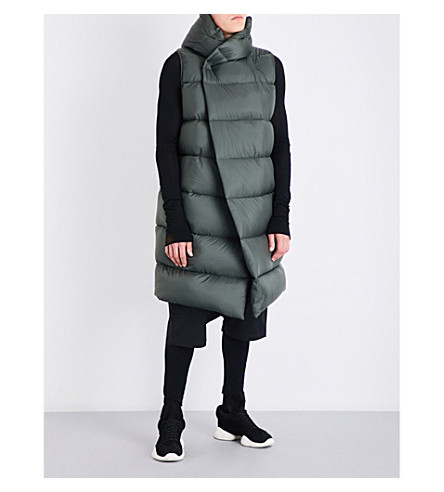 RICK OWENS Sleeveless quilted down jacket (Forest