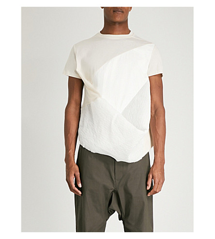 RICK OWENS Draped-front cotton-jersey T-shirt (Natural
