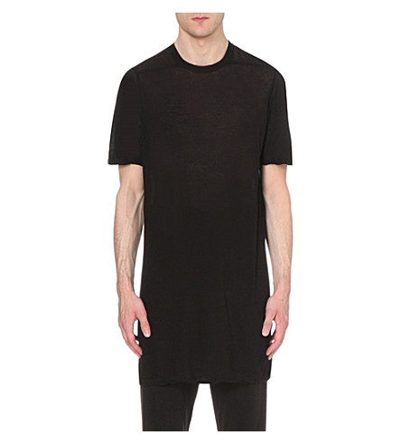 RICK OWENS semi-sheer longline cotton t-shirt (Black
