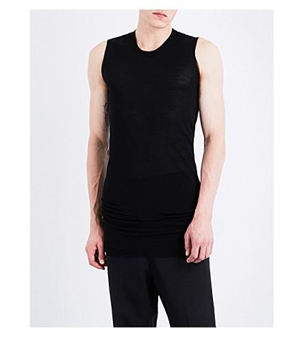 RICK OWENS Sleeveless silk-blend top (Black