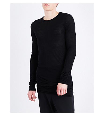 RICK OWENS Crewneck silk-blend top (Black