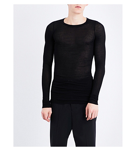 RICK OWENS Slim-fit silk-blend top (Black