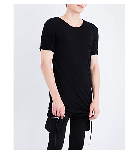 RICK OWENS Twisted hem cotton-jersey t-shirt (Black