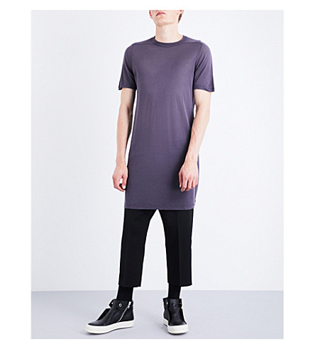 RICK OWENS Level silk-blend long T-shirt (Plum