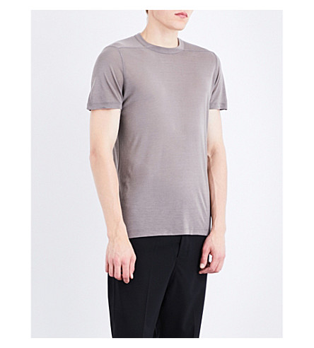 RICK OWENS Level silk-blend T-shirt (Dark+dust