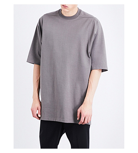 RICK OWENS Oversized cotton-jersey T-shirt (Dark dust