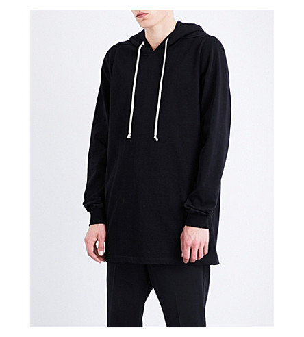 RICK OWENS Oversized cotton-jersey hoody (Black