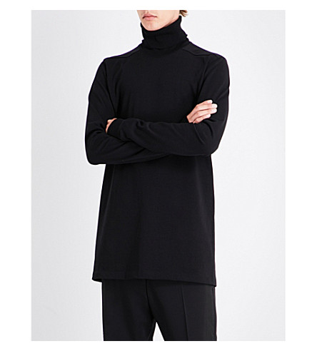 RICK OWENS Roll-neck cotton top (Black