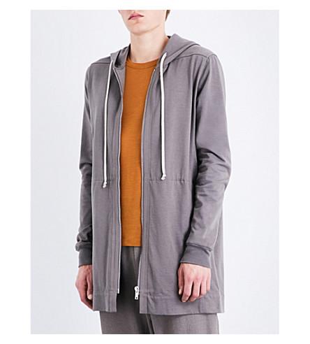 RICK OWENS Longline cotton-jersey hoody (Dark+dust