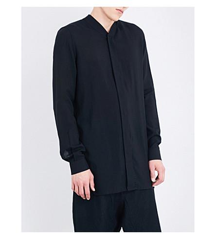 RICK OWENS Collarless wool and silk-blend shirt (Black