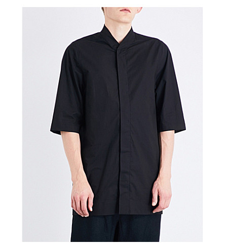 RICK OWENS Collarless cotton-poplin shirt (Black