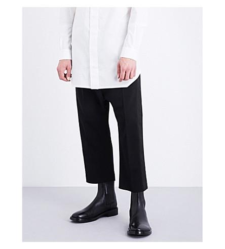 RICK OWENS Tuxedo regular-fit stretch-wool trousers (Black