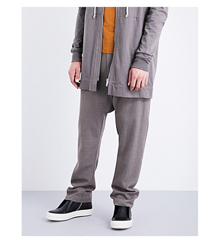 RICK OWENS Dropped-crotch alpaca-blend jogging bottoms (Dark+dust