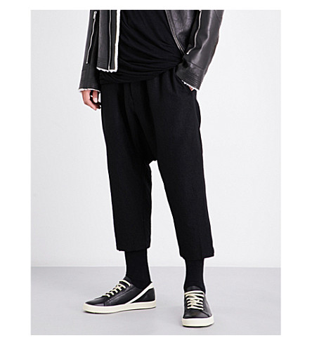 RICK OWENS Cropped wool-blend trousers (Black