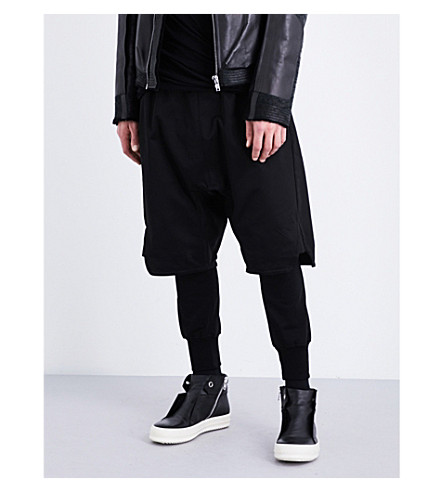 RICK OWENS Basket Swinger cotton-drill shorts (Black