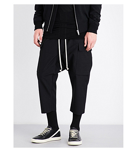 RICK OWENS Dropped-crotch wide wool trousers (Black