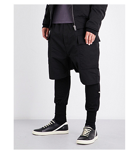 RICK OWENS Cargo cotton-blend shorts (Black