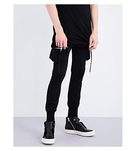 RICK OWENS Cargo cotton-jersey jogging bottoms (Black
