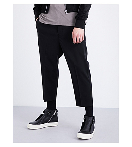 RICK OWENS Dropped-crotch stretch-wool trousers (Black