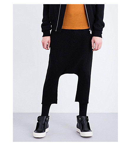 RICK OWENS Dropped-crotch cashmere jogging bottoms (Black