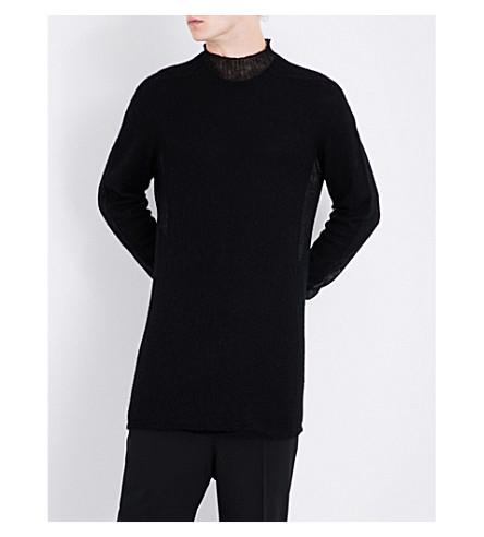RICK OWENS Mock-neck alpaca-blend jumper (Black