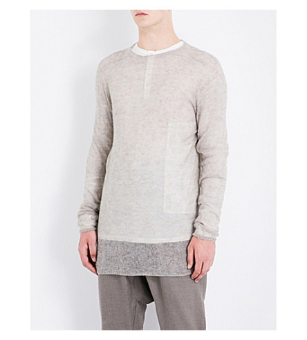 RICK OWENS Crewneck alpaca-blend jumper (Fog